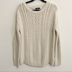 BDG Cable Knit Elbow Patch Oversized Sweater S